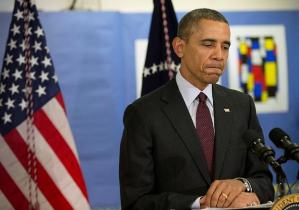 У Барака Обамы выражение лица нашкодившего мальчика