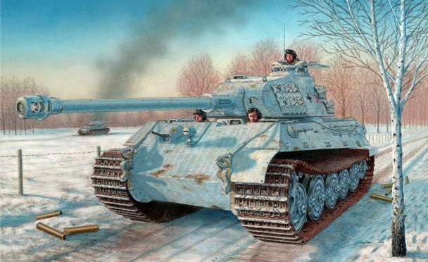 """Рисунок с танком """"Королевский Тигр"""" в зимнем камуфляже"""