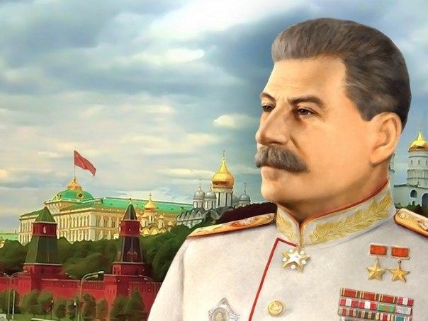 И.В. Сталин на фоне Кремля